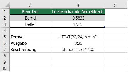 Beispiel: Konvertieren von Stunden aus dem Dezimalformat in das Standardzeitformat