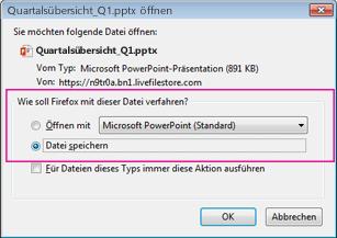 Wie soll Firefox mit dieser Datei verfahren?