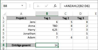 Die ANZAHL2-Funktion