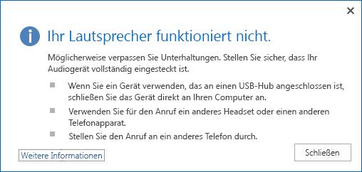 Bildschirmfoto eines Audiofehlers und der Optionen zur Prüfung