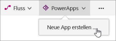 """Menüelement """"PowerApps"""" in Befehlsleiste mit hervorgehobener Option zum Erstellen einer PowerApp"""