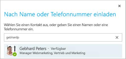 """Dialogfeld """"Nach Name oder Telefonnummer einladen"""""""
