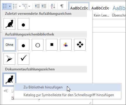 Hinzufügen eines neuen Aufzählungszeichenformats zur Aufzählungszeichenbibliothek