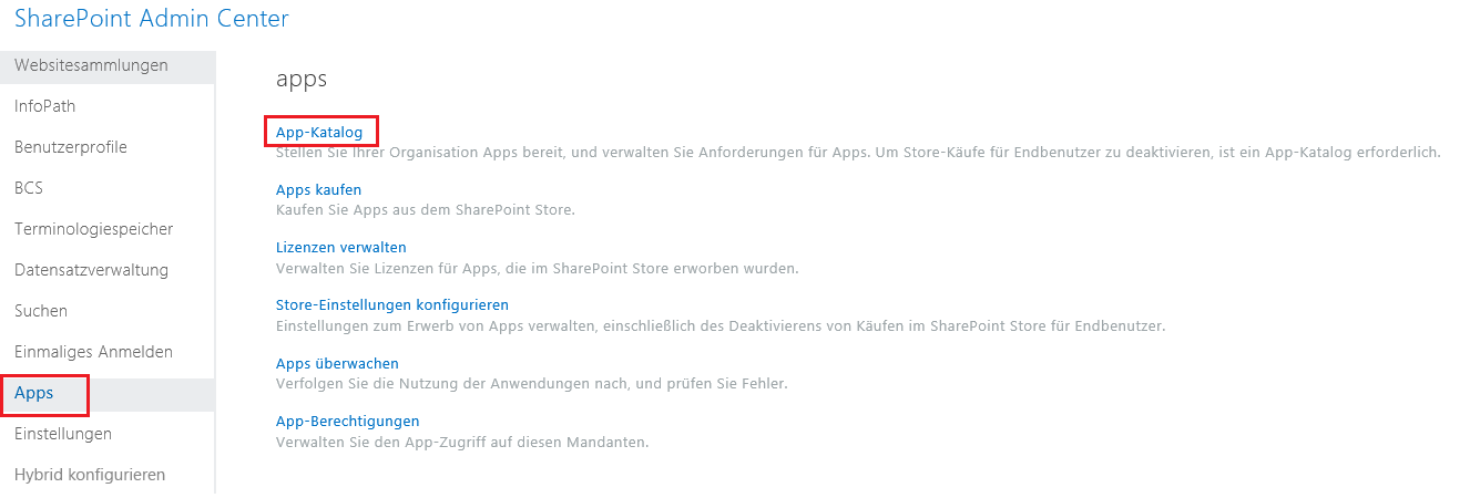 Screenshot der App-Kategorien im SharePoint Admin Center