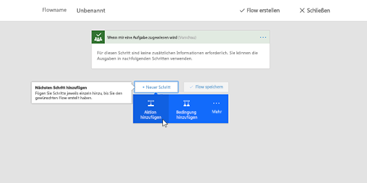 """Screenshot mit ausgewählter Option """"Aktion hinzufügen"""""""