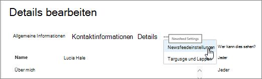 Maus auf die Auslassungszeichen auf der Seite Details bearbeiten, der Bearbeitung Mein Profil Auswahlspalte