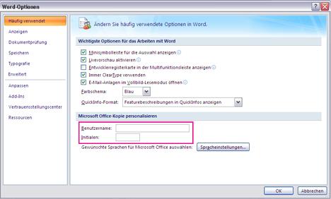 """Word 2007-Optionen für """"Personalisieren"""""""