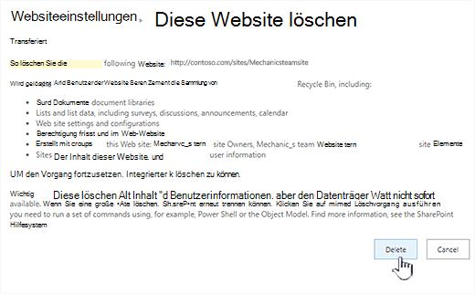 Klicken Sie auf löschen, wenn Sie sicher sind, dass Sie diese Teamwebsite löschen möchten.