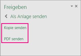 Zeigt die Anlagenoptionen in Excel 2016 für Windows