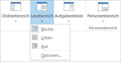"""Optionen für """"Lesebereich"""" auf der Registerkarte """"Ansicht"""""""