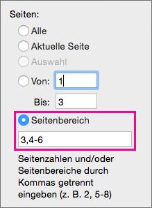 """Drucken Sie bestimmte Seiten und Seitenbereiche, indem Sie diese in """"Seitenbereich"""" angeben."""