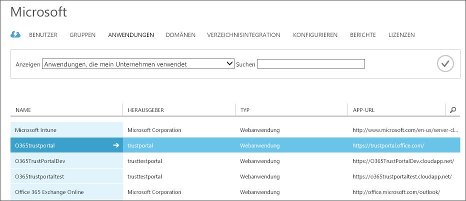 Zeigt aufgelistete Azure AD-Anwendungen mit hervorgehobener Dienstvertrauensstellung (O365trustportal).