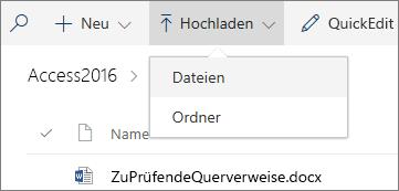 """Screenshot des geöffneten Menüs """"Hochladen"""" in einer Dokumentbibliothek"""