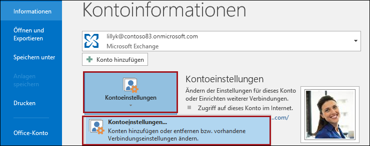 Kontoeinstellungen in Outlook