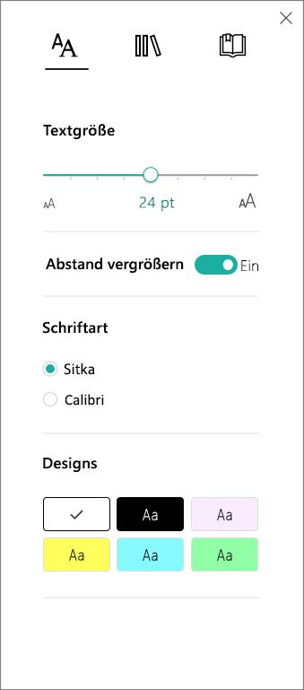 Das Menü der Textoptionen im plastischen Reader-Teil des Lerntools-Add-Ins für OneNote.