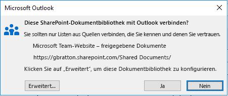 Herstellen einer Verbindung mit einer SharePoint-Dokumentbibliothek