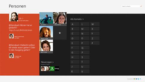 Startseite der Kontakte-App