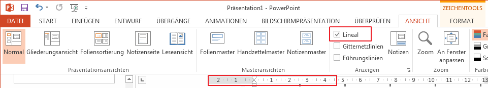 """Das Kontrollkästchen """"Lineal"""" befindet sich auf der Registerkarte """"Ansicht""""."""