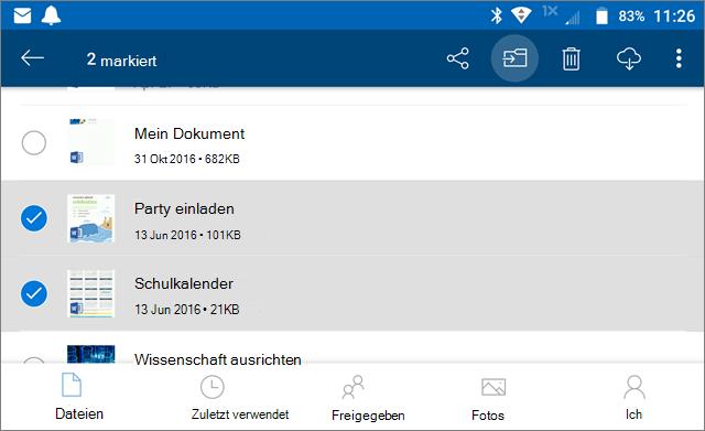 Verschieben von Dateien auf OneDrive