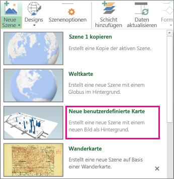 Schaltfläche 'Neue benutzerdefinierte Karte' im Katalog 'Neue Szene'