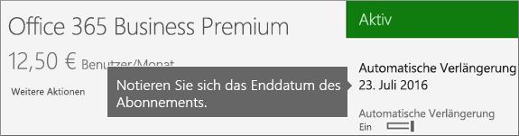 Screenshot eines aktiven Abonnements mit aktivierter automatischer Verlängerung.  Das Datum dafür wird angezeigt.