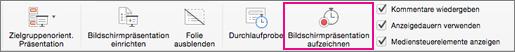 """Auf """"Bildschirmpräsentation aufzeichnen"""" klicken, um die Aufzeichnung zu starten"""