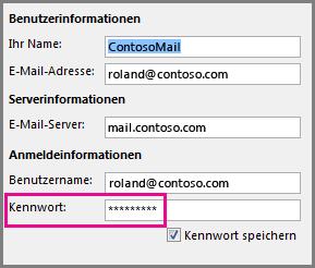 Ändern der Kennworteinstellungen für ein POP3- oder IMAP-Konto