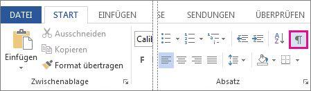 Schaltfläche 'Formatierungszeichen'
