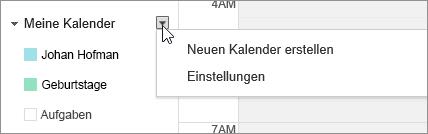 """Wählen Sie """"Mein Kalender"""" und dann """"Einstellungen"""" aus."""