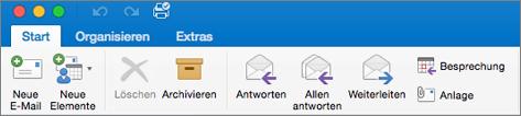 So sieht das Menüband bei Outlook 2016 für Mac aus.