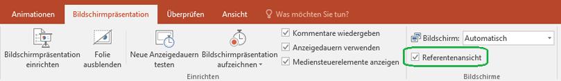 """Auf der Registerkarte """"Bildschirmpräsentation"""" in PowerPoint befindet sich ein Kontrollkästchen, mit dem gesteuert werden kann, ob beim Vorführen der Präsentation die Referentenansicht verwendet wird."""
