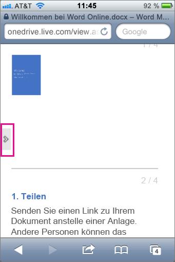 Tippen, um eine Symbolleiste in Office Mobile Viewers zu öffnen