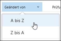 Sortieren der Ansicht der Dokumentbibliothek in Office 365