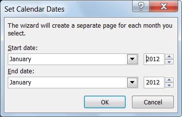 Einen neuen Monat legen Sie im Dialogfeld 'Kalenderdaten festlegen' fest.
