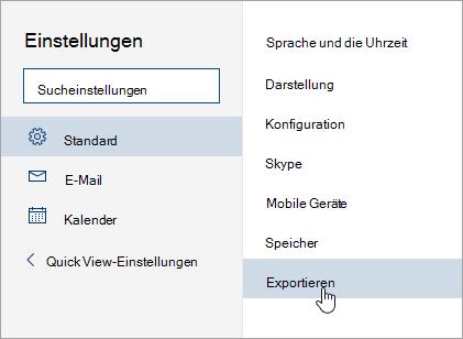 Ein Screenshot im Menü Einstellungen mit exportieren ausgewählt