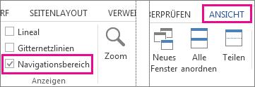Abbildung des Kontrollkästchens 'Navigationsbereich' unter 'Ansicht'