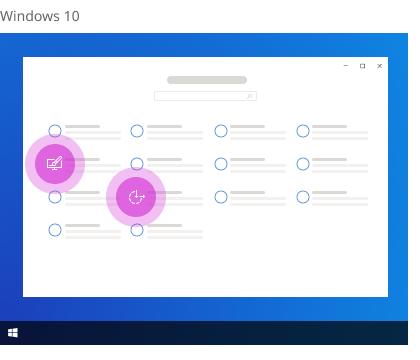 Personalisierung und erleichterte Bedienung in Windows 10-Einstellungen.