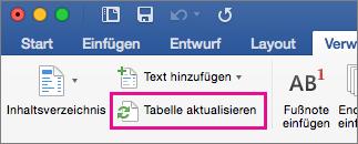 """Registerkarte """"Verweise"""" mit Rahmen um """"Tabelle aktualisieren"""""""