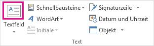 Schaltfläche ' ' Text in der Gruppe Text