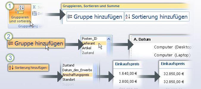 Gruppieren und Sortieren von Daten in einem Bericht