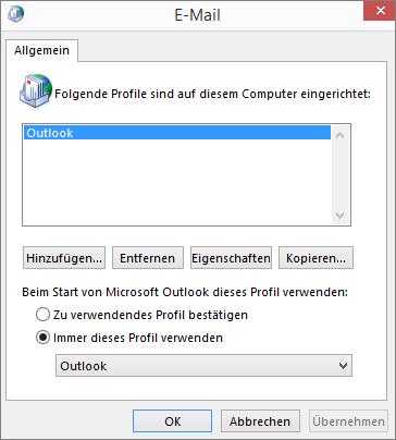 E-Mail-Eigenschaftenblatt, das zum Hinzufügen oder Entfernen eines Profils für Ihr Outlook-Konto verwendet wurde