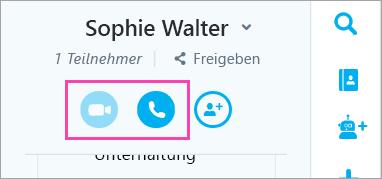 Ein Screenshot der Schaltflächen Sprach- und Videodaten im Chatfenster