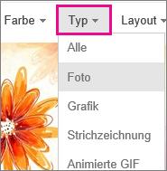 """Menü """"Typ"""", """"Foto"""" ausgewählt"""