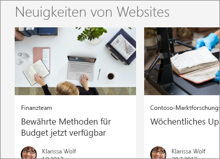 SharePoint, Office 365, Neuigkeiten von Websites