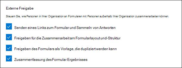 Microsoft Forms-Administratoreinstellung für externe Freigabe