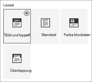 Optionen für Seitenlayouts
