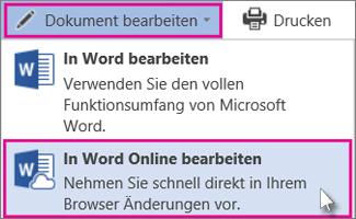 In Word Online bearbeiten