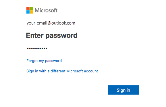 Melden Sie sich mit E-Mail-Adresse und Kennwort an.