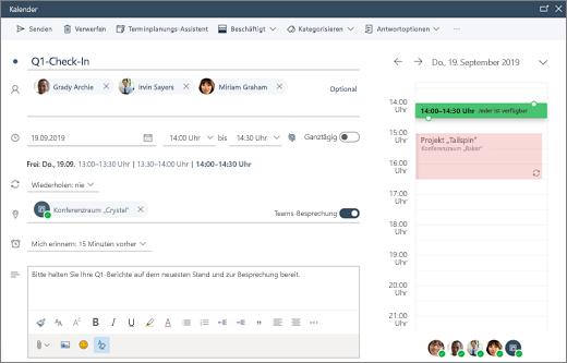 Planen einer Besprechung in Outlook im Web
