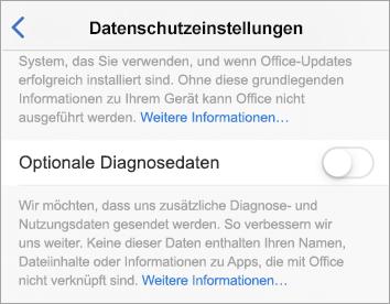 """Screenshot der Umschaltfläche """"Optionale Diagnosedaten"""""""